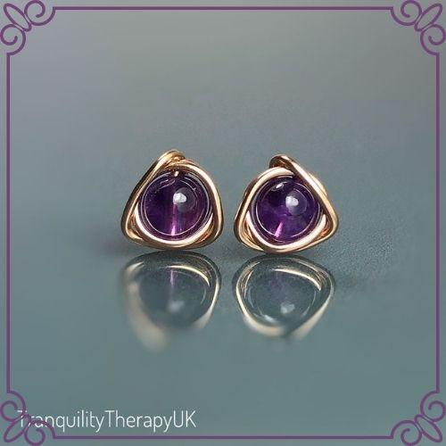 Amethyst Crystal Healing Properties - Amethyst Stud Earrings - TranquilityTherapyUK