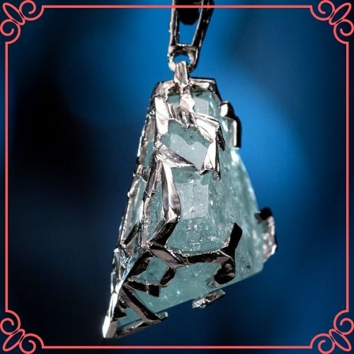 Aquamarine Crystal Meaning - Aquamarine Gold Pendant Natural Blue Beryl Crystal Gemstone_2