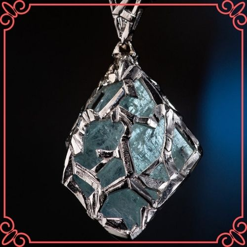 Aquamarine Crystal Meaning - Aquamarine Gold Pendant Natural Blue Beryl Crystal Gemstone_3