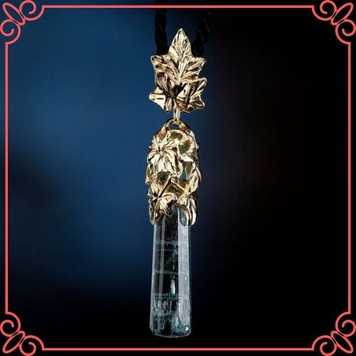 Aquamarine Crystal Meaning - Aquamarine Gold Pendant Natural Blue Beryl Ivy Leaves Crystal Gemstone_1