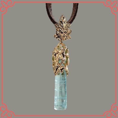 Aquamarine Crystal Meaning - Aquamarine Gold Pendant Natural Blue Beryl Ivy Leaves Crystal Gemstone_4