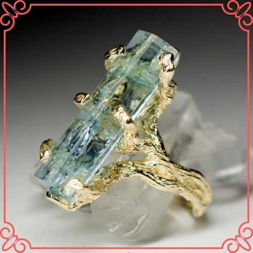 Aquamarine Crystal Meaning - Aquamarine Gold Ring Crystal Raw Rare Gem Natural Blue Beryl Russian Gemstone - 1