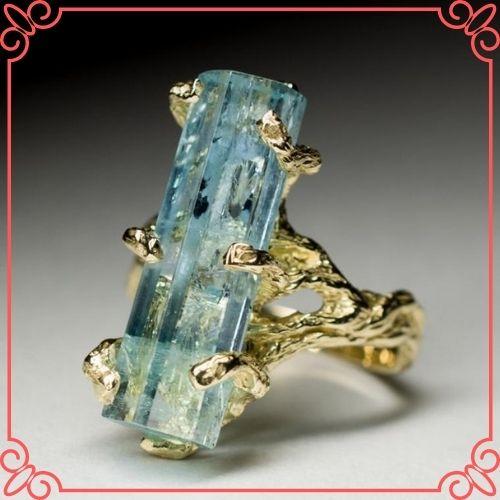 Aquamarine Crystal Meaning - Aquamarine Gold Ring Crystal Raw Rare Gem Natural Blue Beryl Russian Gemstone - 2
