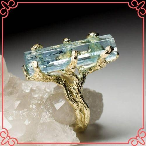 Aquamarine Crystal Meaning - Aquamarine Gold Ring Crystal Raw Rare Gem Natural Blue Beryl Russian Gemstone - 3