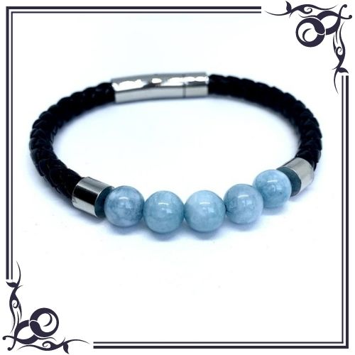 Aquamarine Crystal Meaning - Bead Aquamarine Men's Leather Bracelet - 1