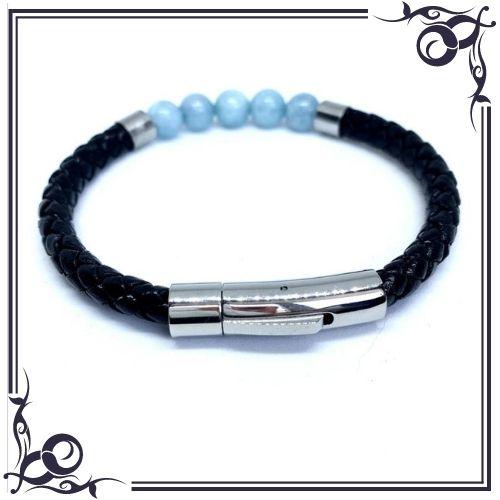 Aquamarine Crystal Meaning - Bead Aquamarine Men's Leather Bracelet - 2
