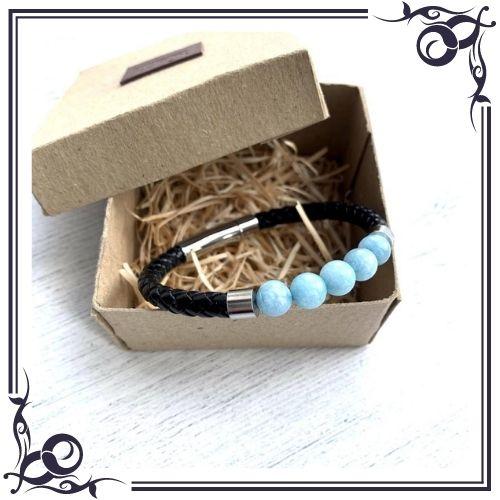 Aquamarine Crystal Meaning - Bead Aquamarine Men's Leather Bracelet - 3