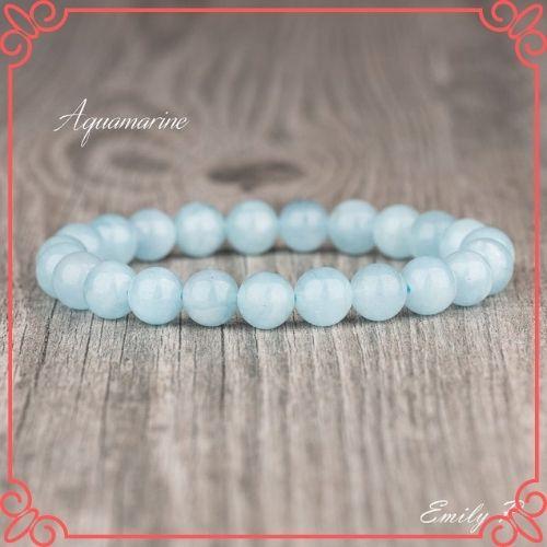 Aquamarine Crystal Meaning - Natural Aquamarine Bracelet, 8mm Aquamarine Beaded Gemstone Bracelet-1