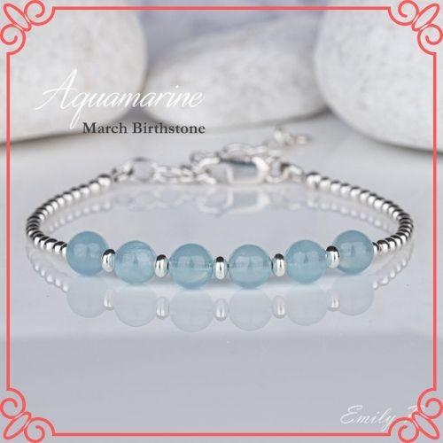 Aquamarine Crystal Meaning - Natural Aquamarine Bracelet, Sterling Silver Aquamarine Bracelet, S925 Blue Gemstone Bracelet-1