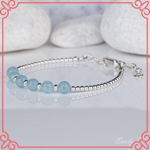 Aquamarine Crystal Meaning - Natural Aquamarine Bracelet, Sterling Silver Aquamarine Bracelet, S925 Blue Gemstone Bracelet-2