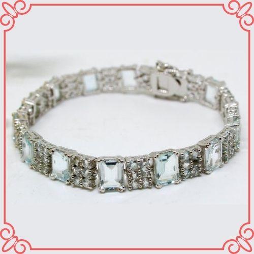 Aquamarine Crystal Meaning - Natural Aquamarine bracelet, Sterling Silver 925-1