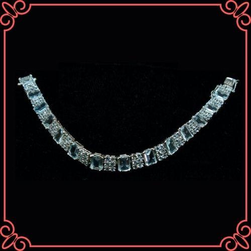 Aquamarine Crystal Meaning - Natural Aquamarine bracelet, Sterling Silver 925-2