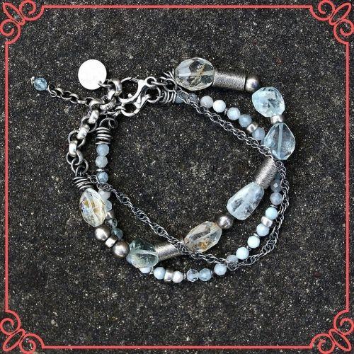 Aquamarine Crystal Meaning - Oxidized sterling silver 2 bracelet set - blue green aquamarine-1