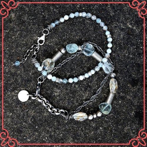 Aquamarine Crystal Meaning - Oxidized sterling silver 2 bracelet set - blue green aquamarine-2