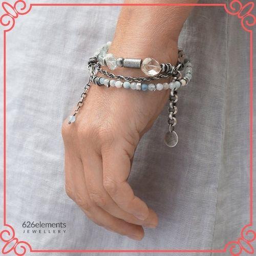 Aquamarine Crystal Meaning - Oxidized sterling silver 2 bracelet set - blue green aquamarine-3