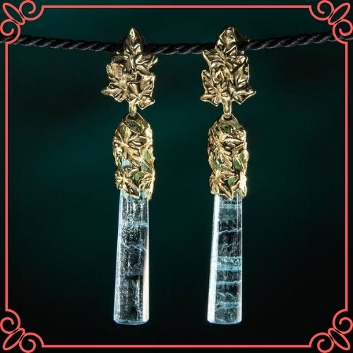 Aquamaring Crystal Meaning - Aquamarine Crystal Earrings Gold Blue Beryl Earrings Ivy Collection-1