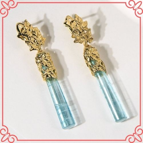 Aquamaring Crystal Meaning - Aquamarine Crystal Earrings Gold Blue Beryl Earrings Ivy Collection-2