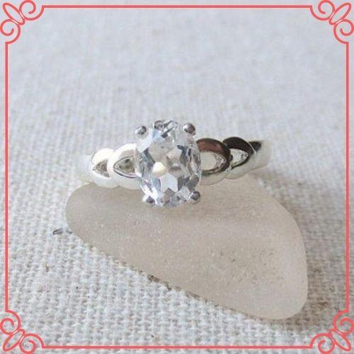 Goshenite Gemstone Meaning - GOSHENITE BERYL _White Emerald_ Genuine Natural 9x7mm Oval Solitaire Ring set in Sterling Silver -1