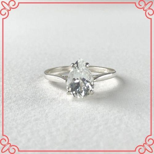 Goshenite Gemstone Meaning - GOSHENITE _White Emerald_ Beryl Genuine Natural 10X7mm Pear Solitaire Ring set in Sterling Silver - 2