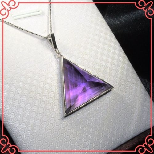 Amethyst Crystal Healing Properties - CoLife Jewelry Natural VVS Grade Amethyst Pendant for Office Woman Triangle Pendant-2