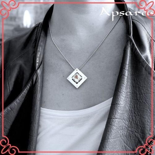 Goshenite Gemstone Mean - Goshénite Pendant with 4 Diamonds - 1