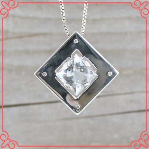 Goshenite Gemstone Mean - Goshénite Pendant with 4 Diamonds - 2